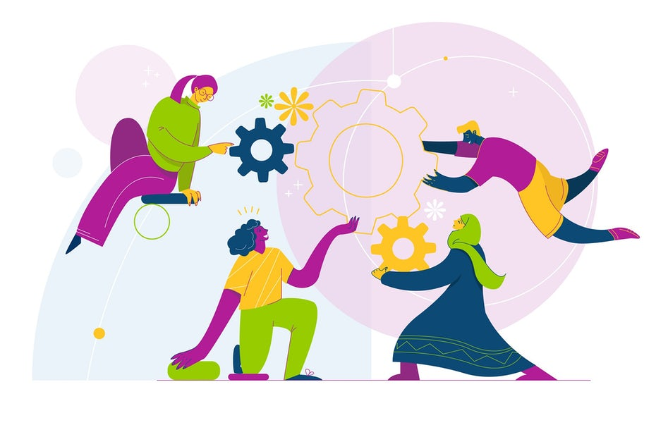 bold, colorful illustration of people working together with gears