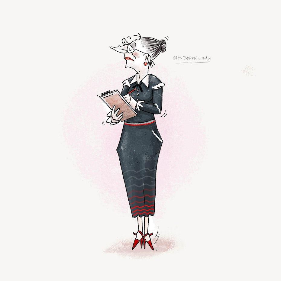 Character illustration of a grandmother teacher