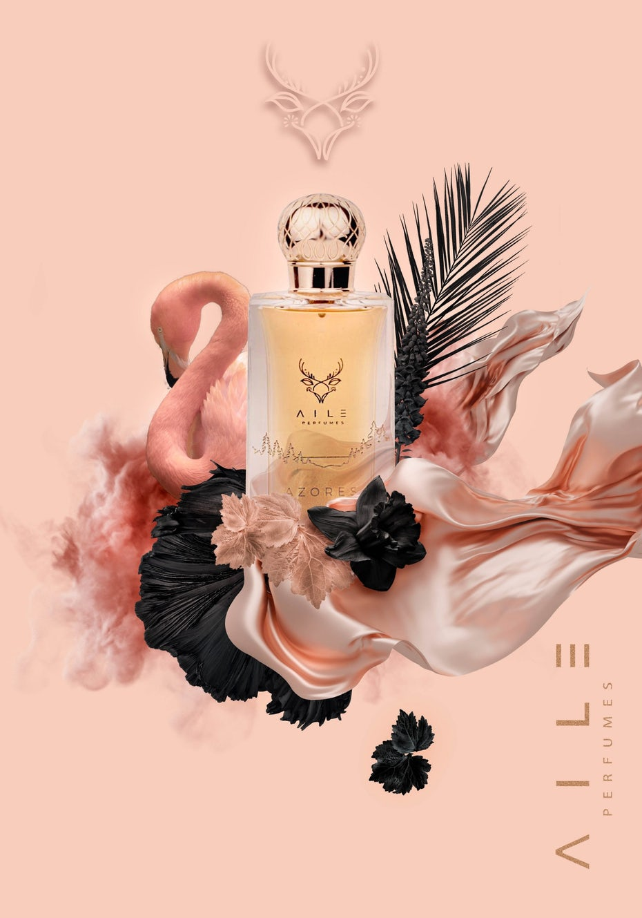 Logo and branding design for a pink perfume product