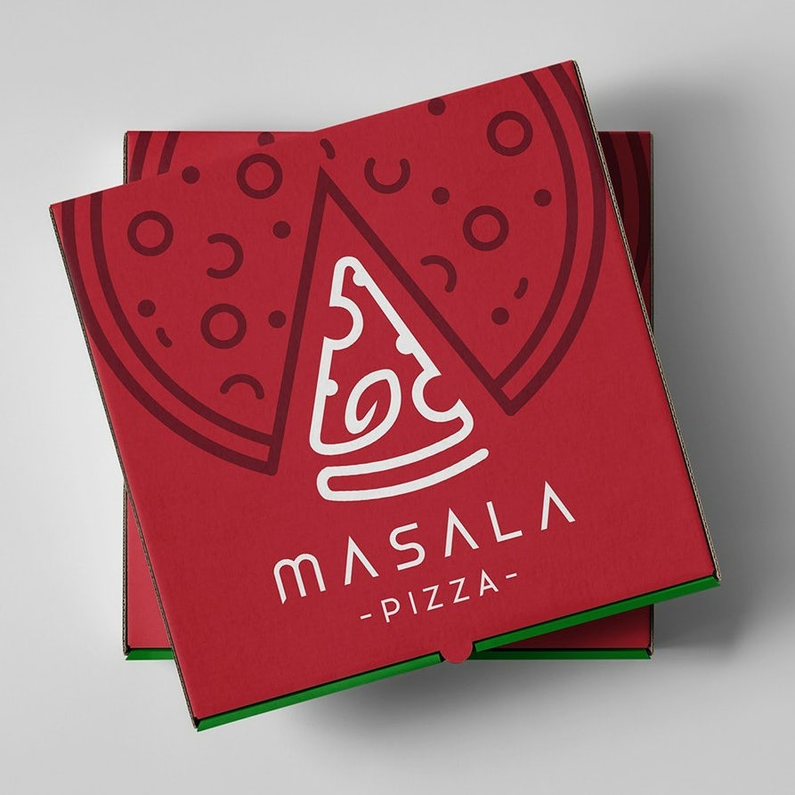 To-go pizza logo and packaging