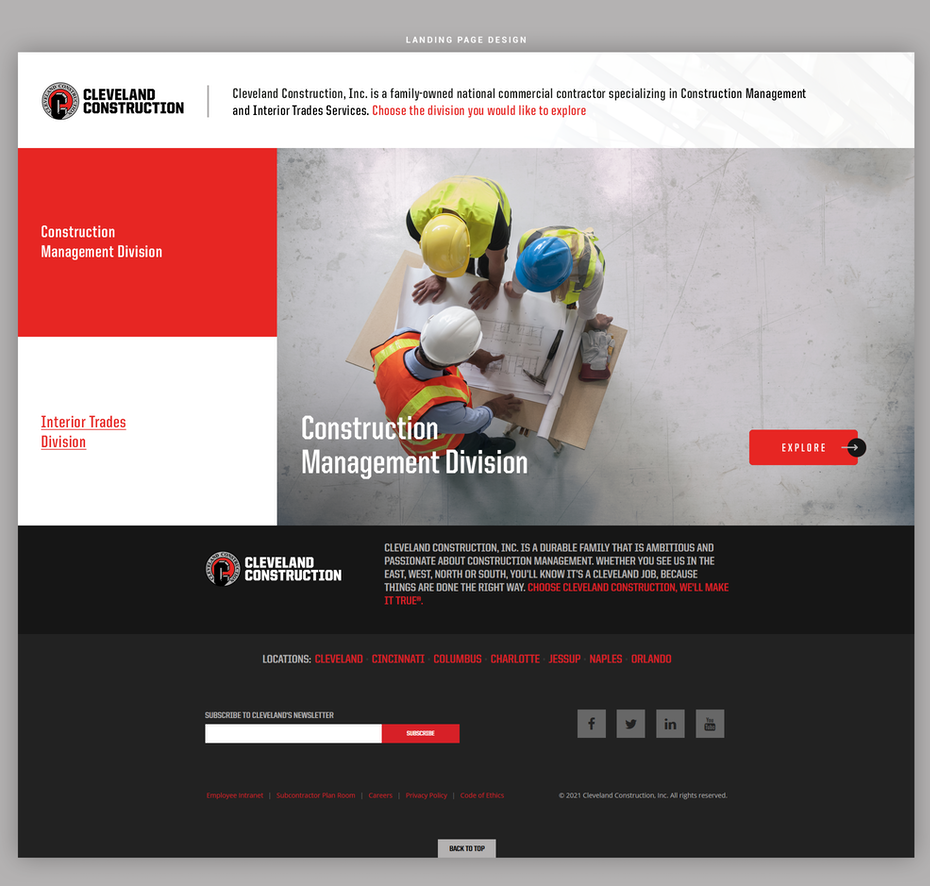 Construction website with red and white color scheme