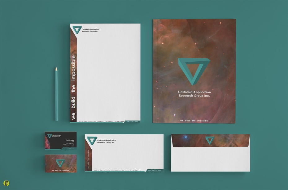 stationery set featuring a triangle logo