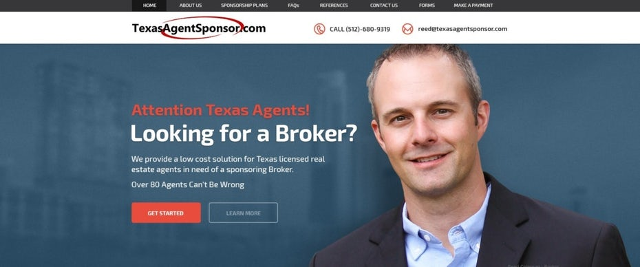 website design showing a man with text
