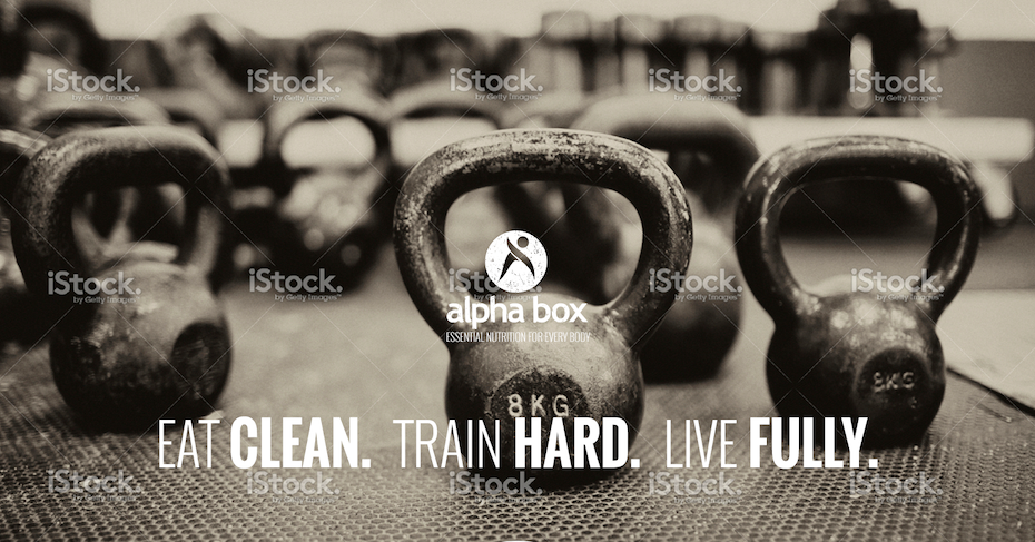 Black and white hero image showing kettlebells and white text