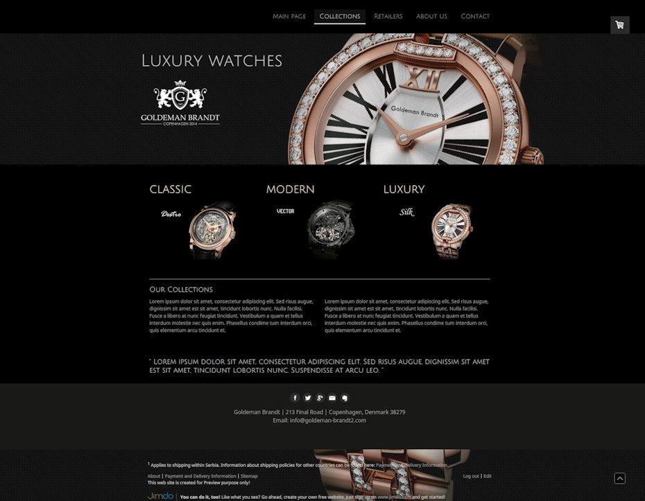 luxury watch web design