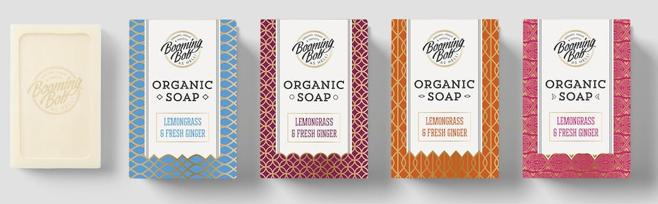 Colorful patterned soap packaging design