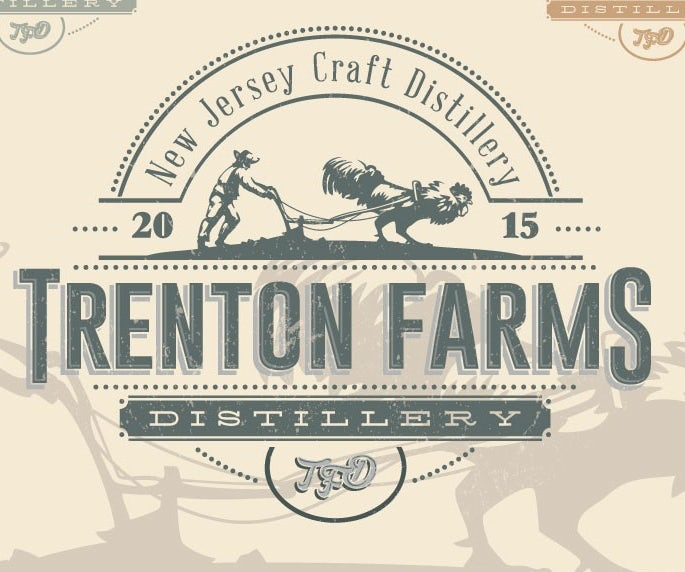rustic distillery logo showing a man and a rooster plowing a field