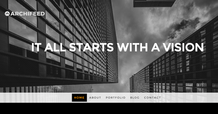 black and white architectural website
