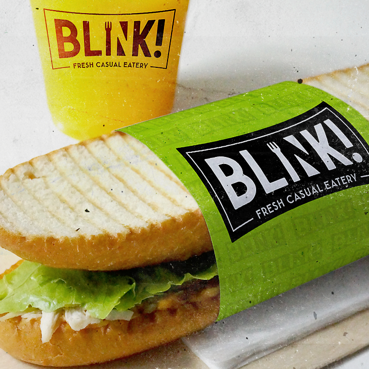 sandwich wrap, bag and disposable cup with Blink! logo
