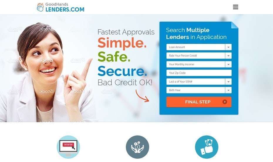 colorful website featuring a smiling woman