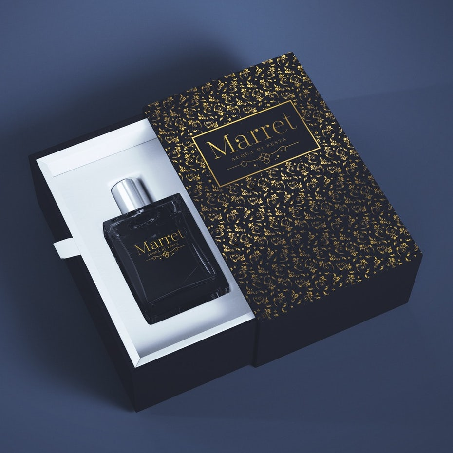 Perfume slideout box design with floral pattern