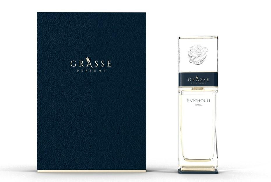 Navy and light gold perfume branding design