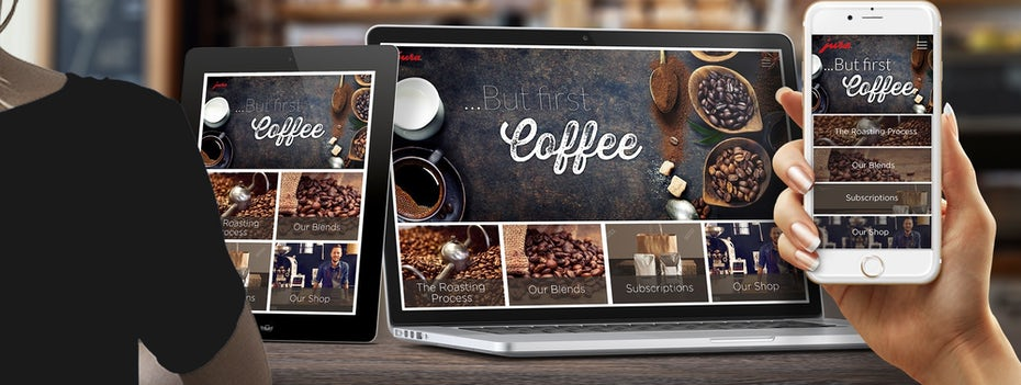 coffee website on different sized screens