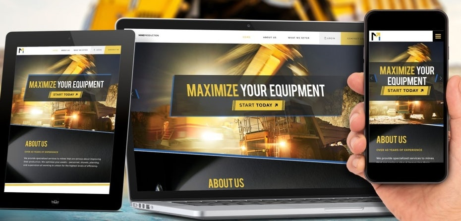 yellow and gray website with yellow and white text on different sized screens