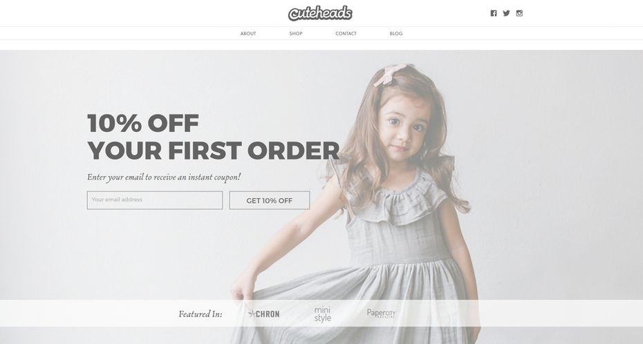 website featuring a girl in a dress, greyed out with a filter