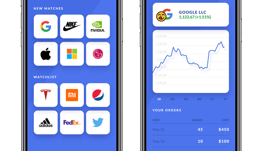 smartphone screens showing design of trading app