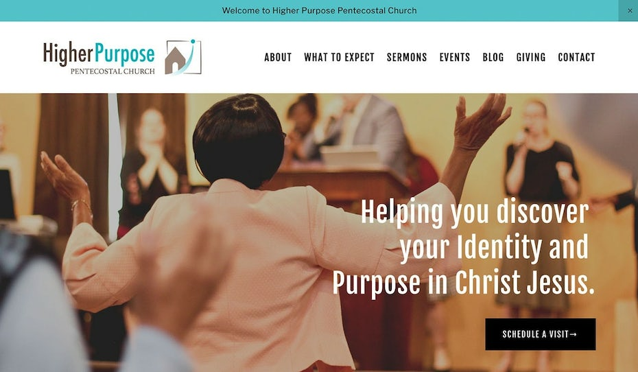 website design in white, teal and gray with black text and photos