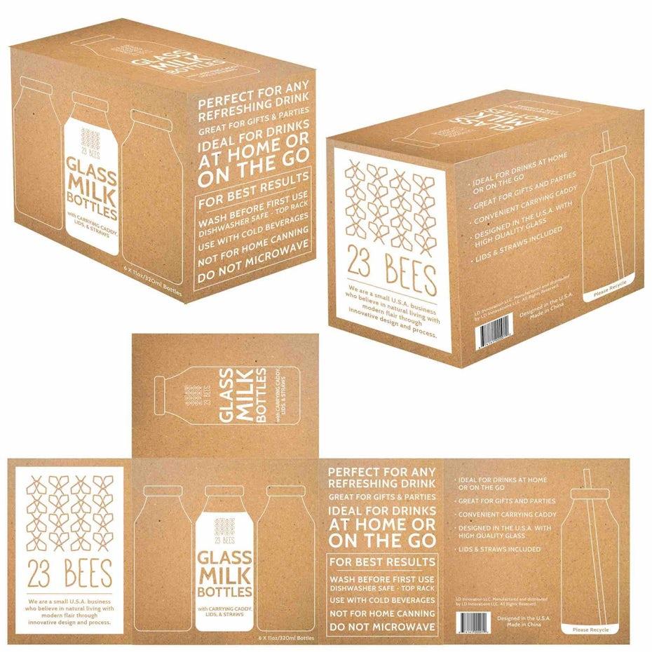 Glass milk bottle packaging