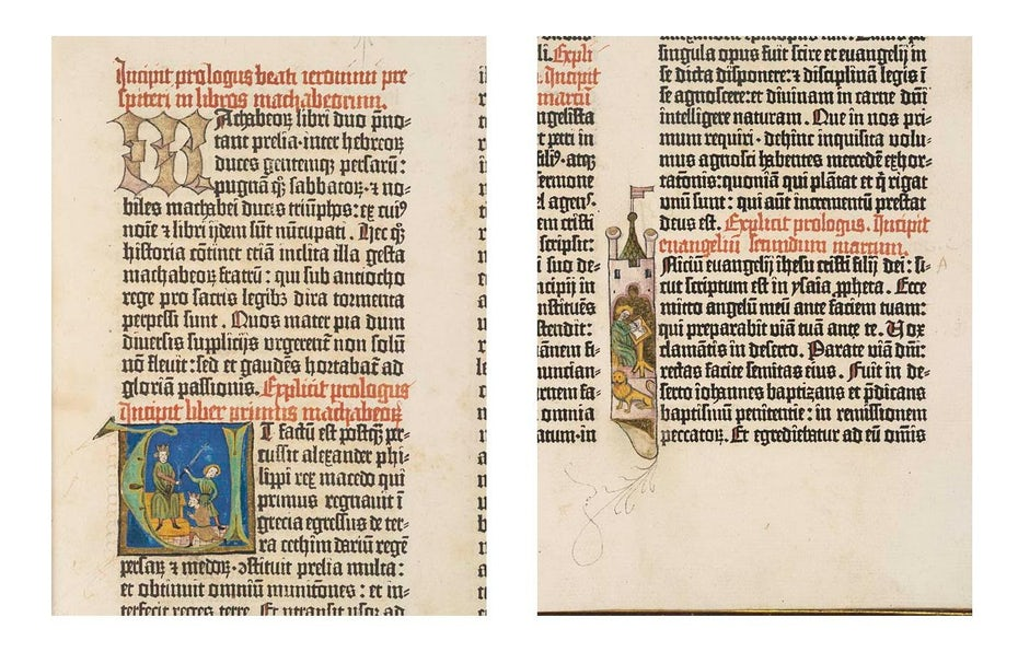 Blackletter print and illustrations on a page