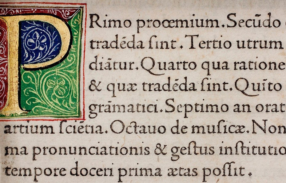 Renaissance-era text in Roman typeface