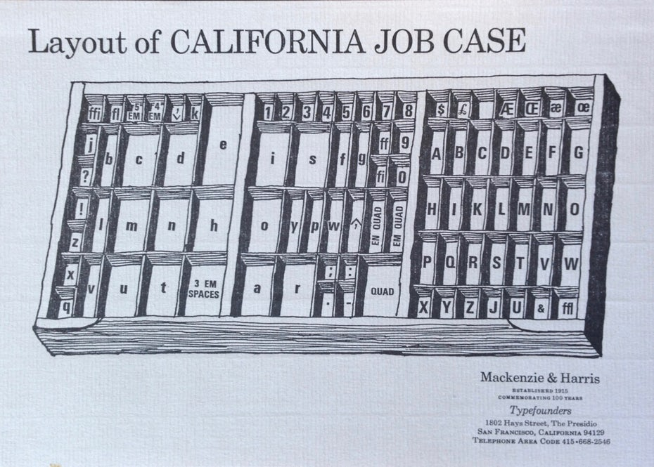 black and white illustration of a California job case