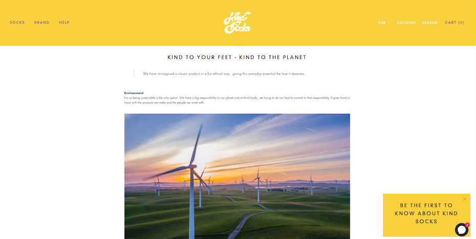 plain website with a yellow header, photo of windmills and text