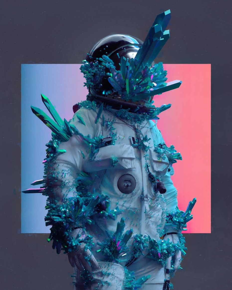 Space Man with rocks and crystals protruding out of him on red and blue lit background