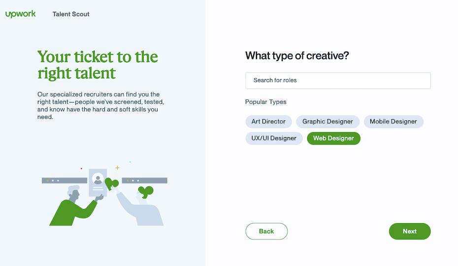 Screenshot of Upwork Talent Scout form for Fiverr vs Upwork comparison