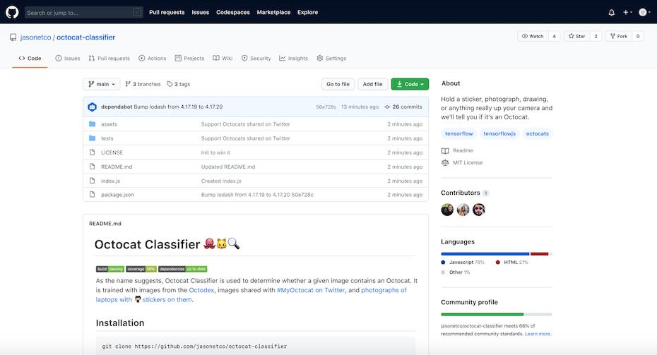 GitHub user interface
