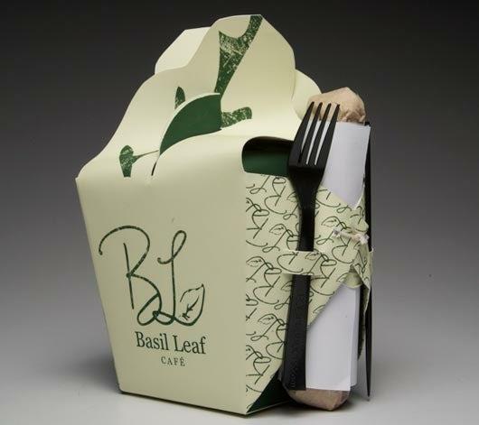 Packaging with utensil storage