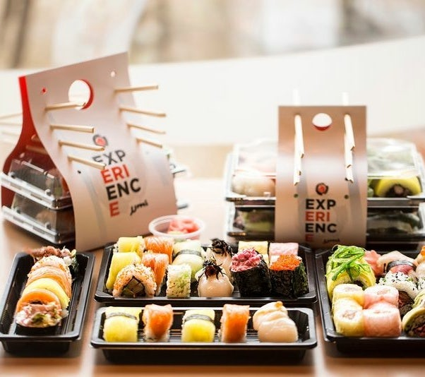 Sushi packaging with chopstick storage