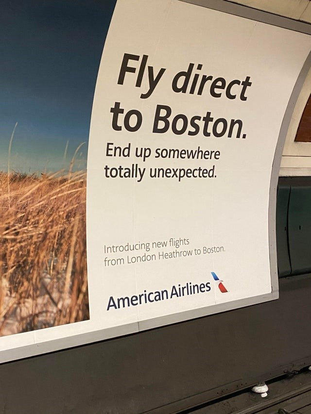 Airline ad showing a beach photo and text