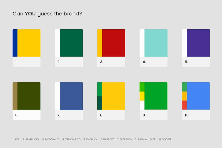 graphic showing color swatches for 10 popular brands