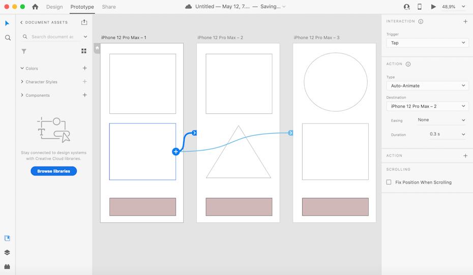 Adobe XD prototyping user interface