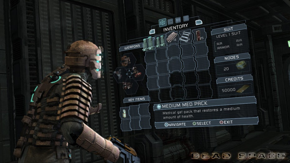 Screen capture of Dead Space gameplay