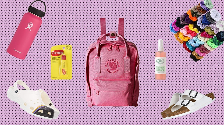backpack, scrunchies, sandals and other items associated with VSCO girls