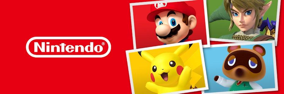 four Nintendo characters next to Nintendo logo