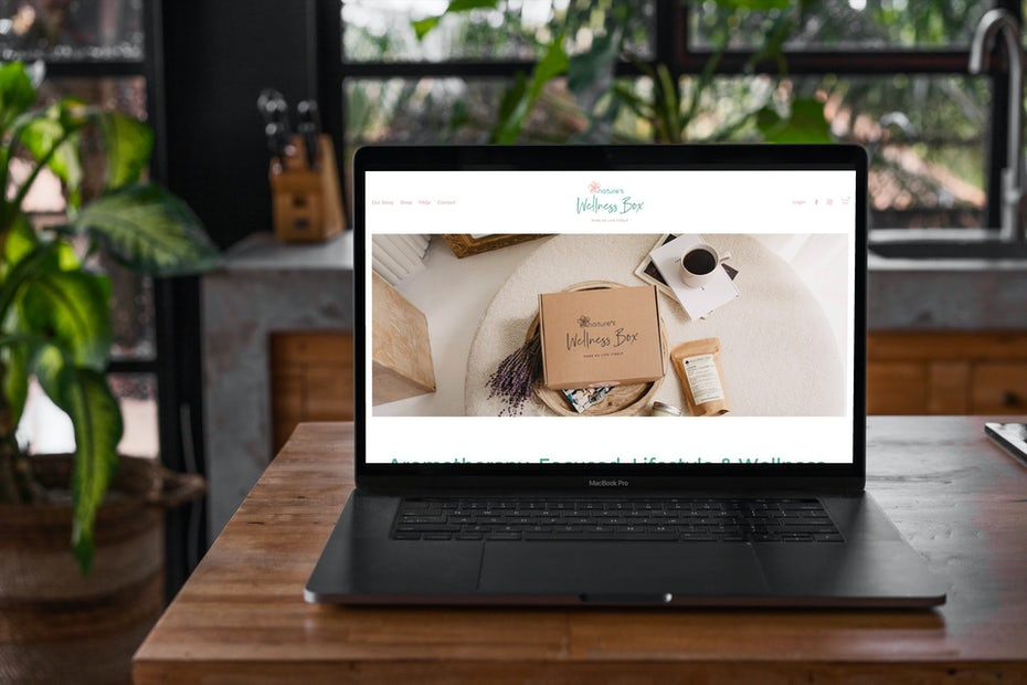 laptop with ecommerce website on the screen