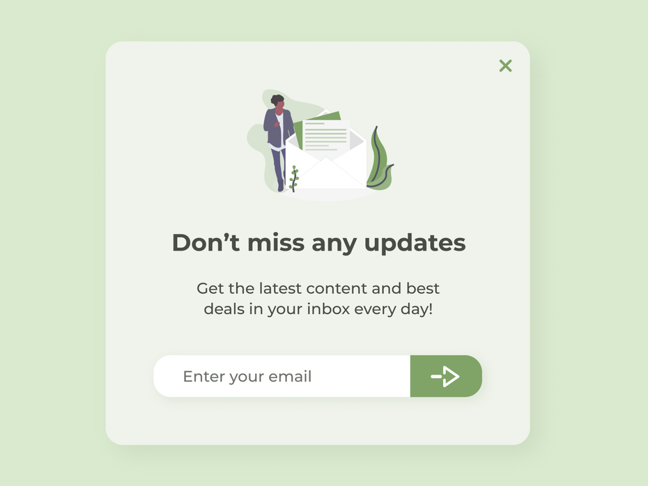 Pop-up window for email subscription