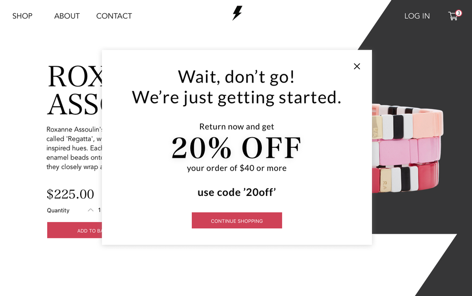 Pop-up window for shopping website