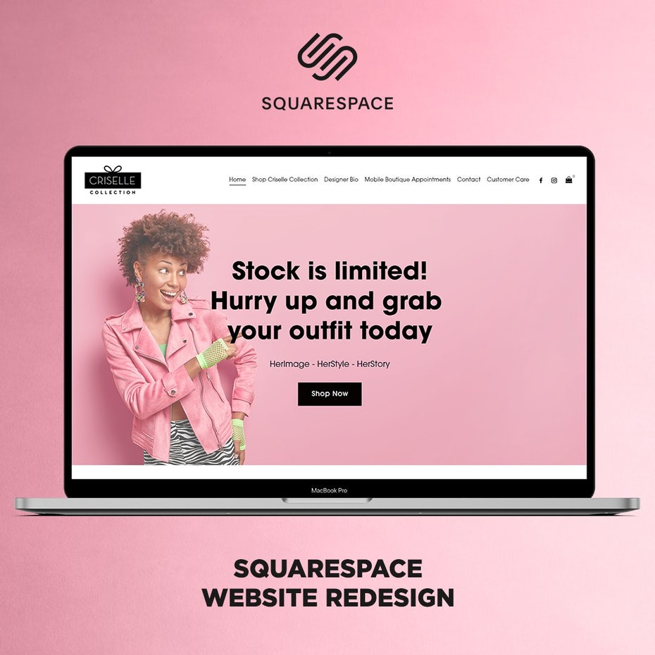 pink squarespace advert showing an ecommerce website