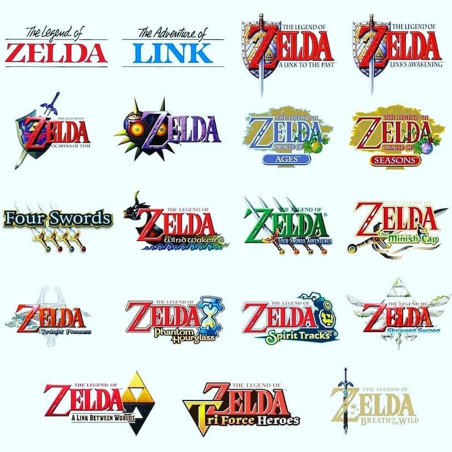 Legend of Zelda logos over the years