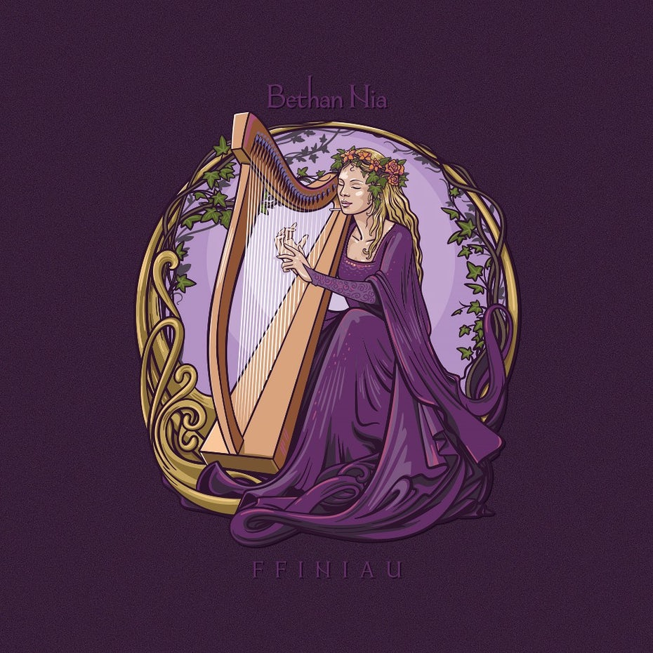 Woman sitting playing a harp with vines and flowers in a circle around her