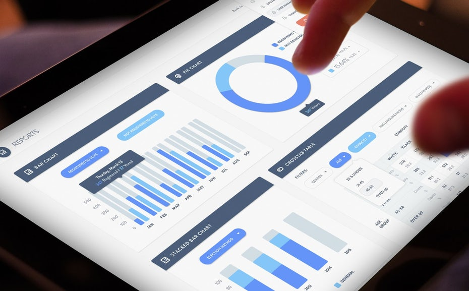 website analytics reporting on a tablet