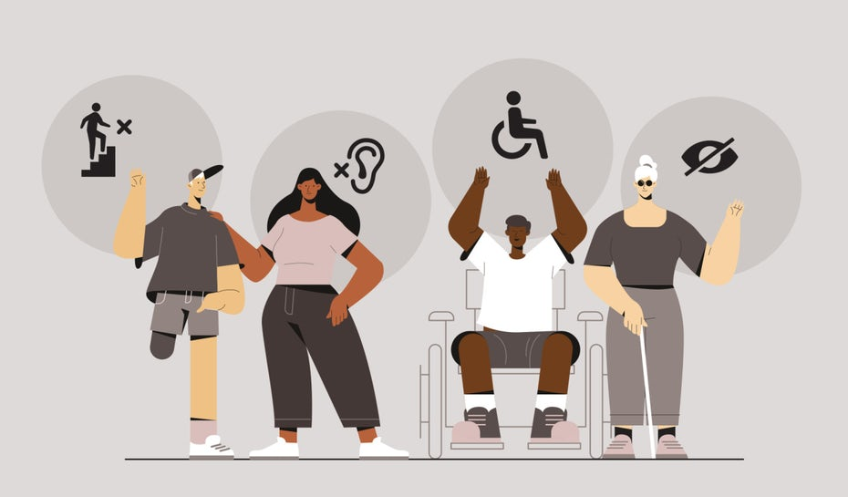 illustration of four people with disabilities and respective symbols