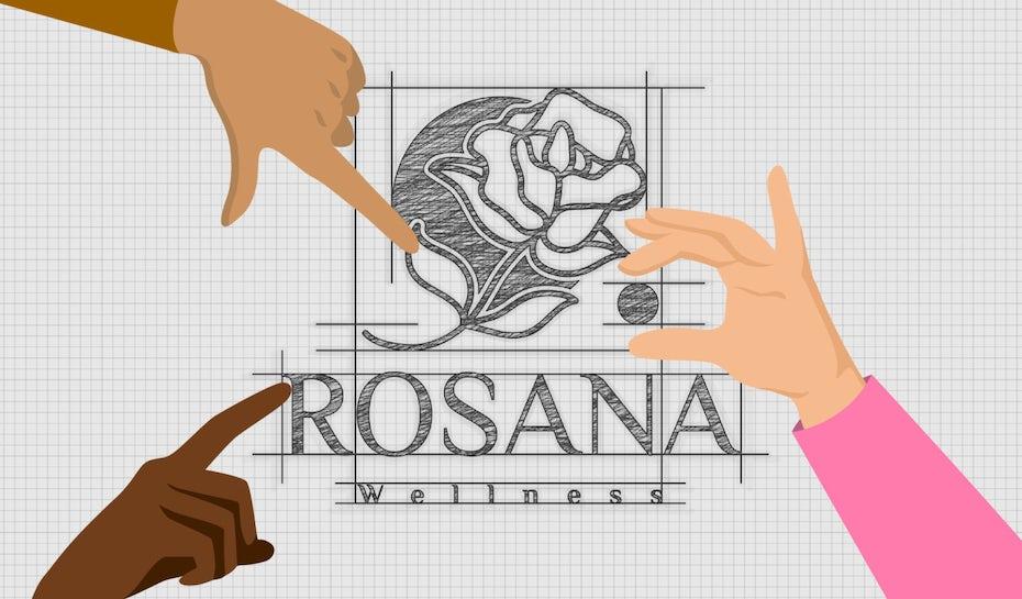 illustration: Ein Logo mit drei Fingern, die auf verschiedene Teile des Logos zeigen