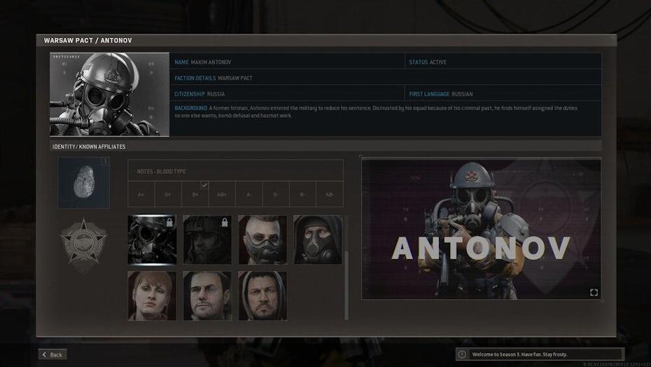 Call of Duty Black Ops menu screen