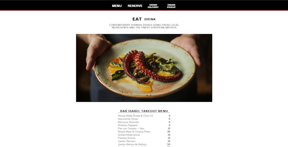 screenshot of Bar Isabel's website
