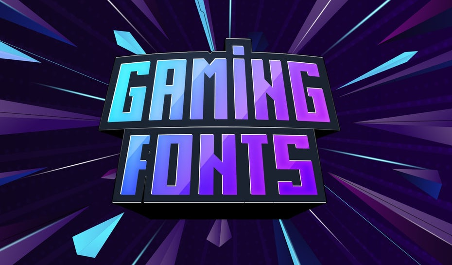 Blue and purple illustration with the words 'Gaming Fonts'