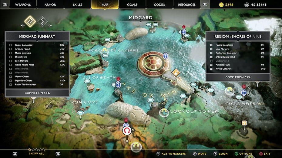 God of War world map